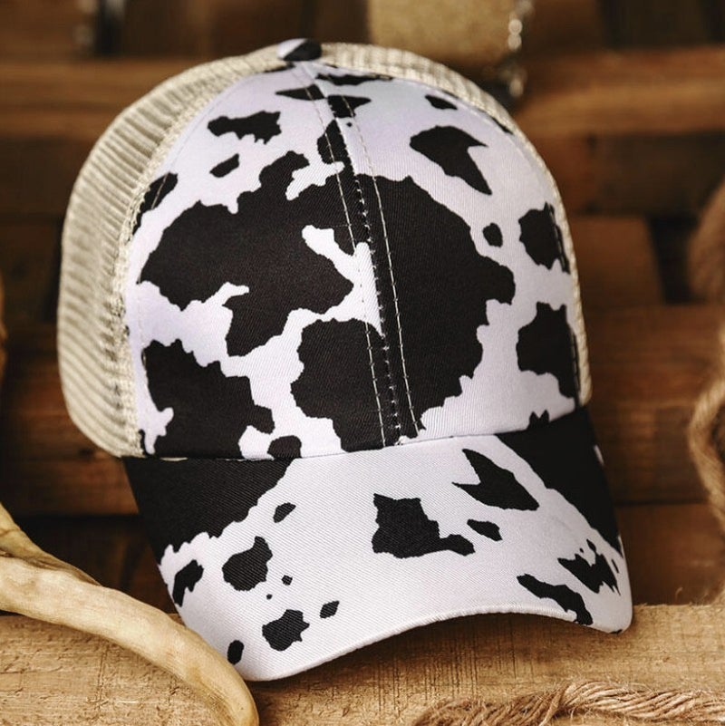 COW PRINT MESH CRISS CROSS PONYTAIL HAT