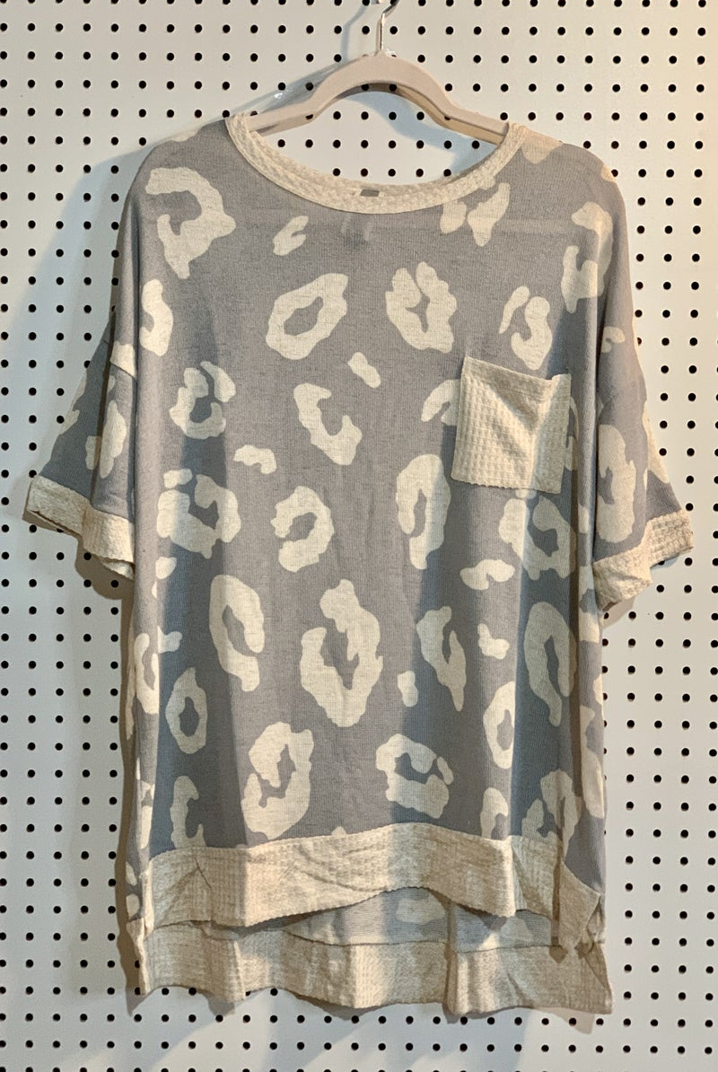 GREY & TAUPE LEOPARD PRINT TOP
