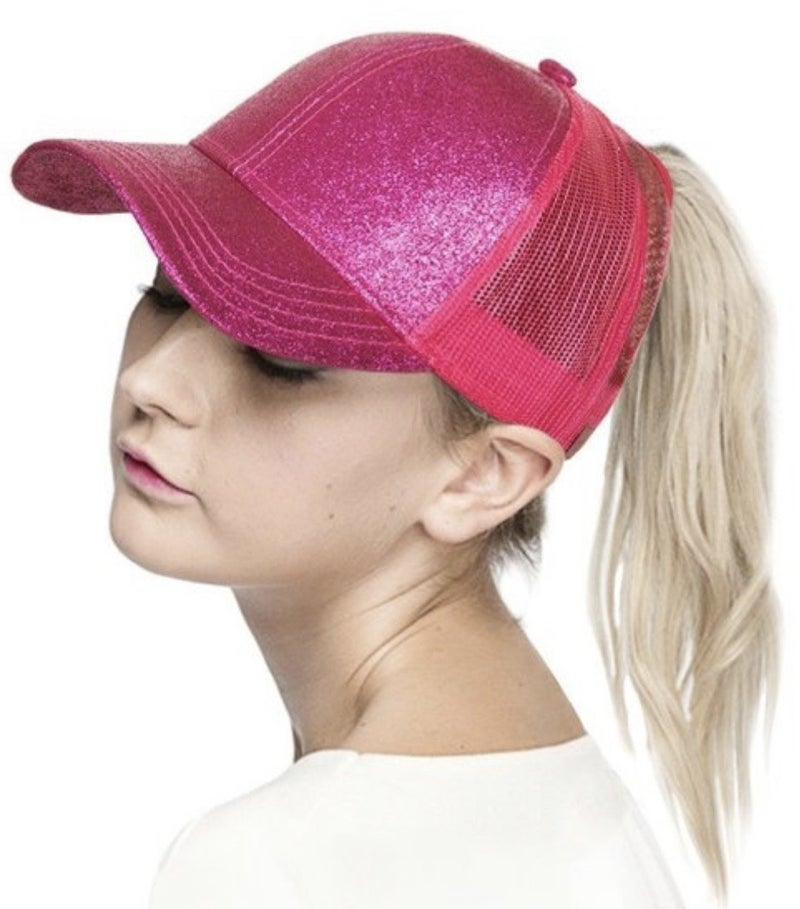 CC GLITTER MESH BACK PONYTAIL HAT