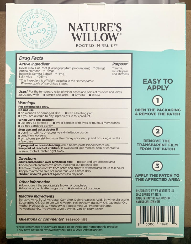 WILLOW BALM PAIN RELIEVING PATCHES