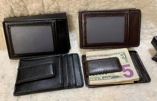 MENS LEATHER CARD WALLET MONEY CLIP