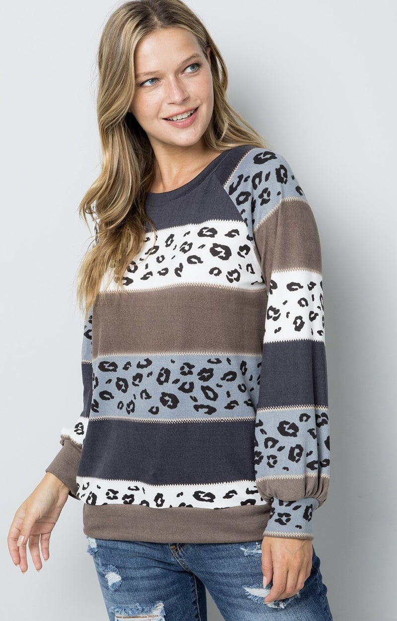 LEOPARD STRIPED CASUAL LONG SLEEVE TOP