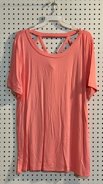 CORAL REVERSIBLE CAGED NECK TEE