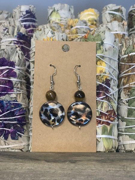 Animal Print Abalone - Tiger Eye Earrings