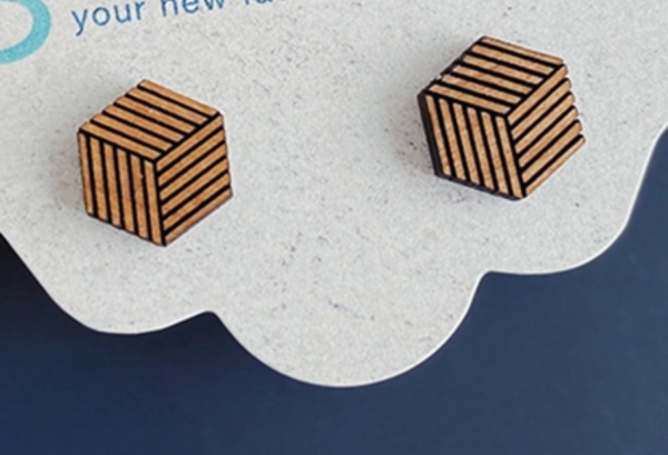Wood Studs Earrings - Hex Cube Stud