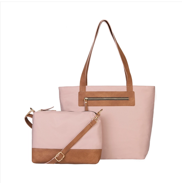 Katie Hybrid Recycled Polyester Tote and Crossbody 2pc Set