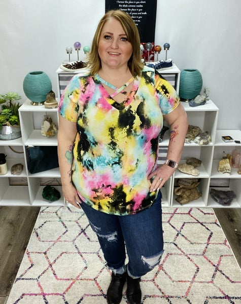 PLUS CRISSCROSS NECK MULTI COLOR TIE DYE TOP