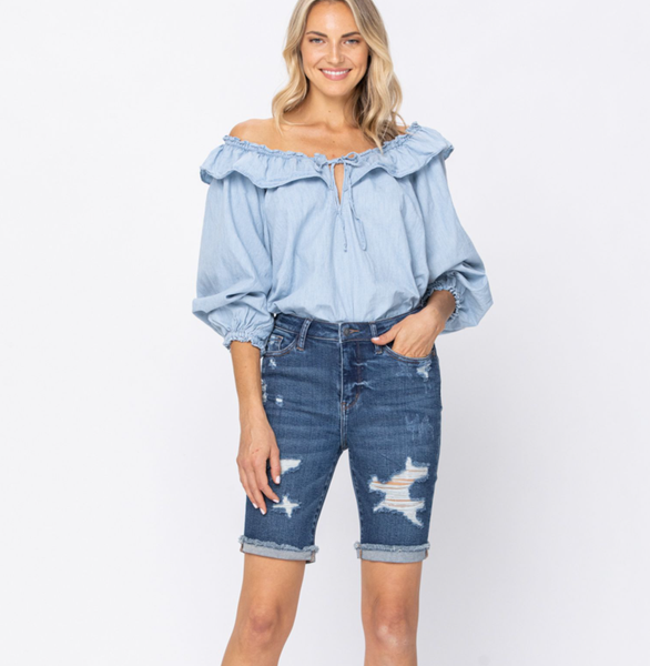 DESTROYED BERMUDA SHORTS JUDY BLUE
