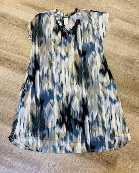 Grey / White Tie Dye Dress - Pockets