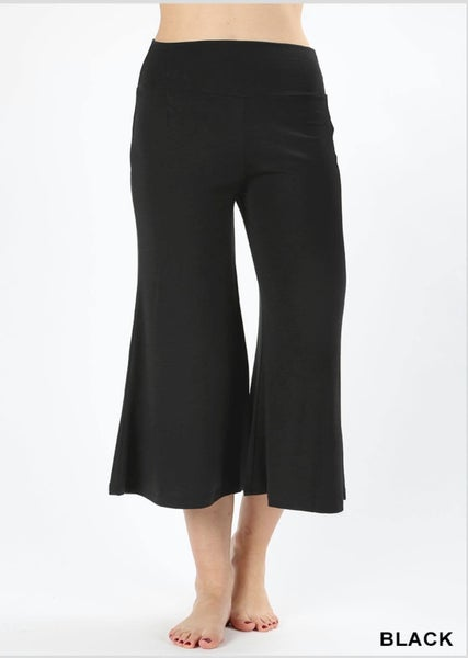PREMIUM FABRIC GAUCHO CAPRI PANTS - BLACK *Final Sale*