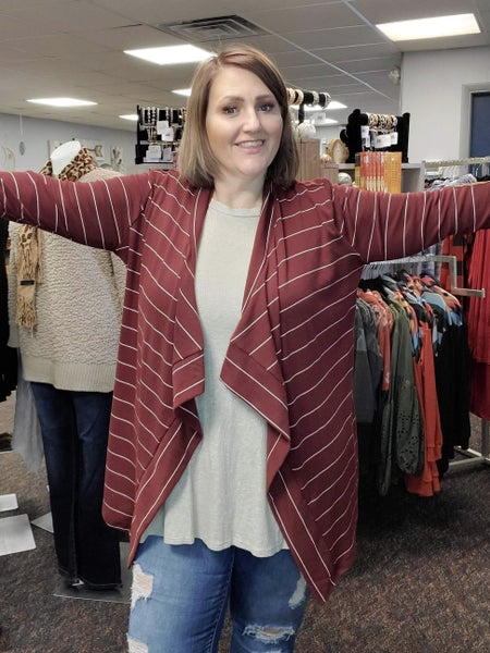 Stripe Burgundy Cardigan - Elbow Patch