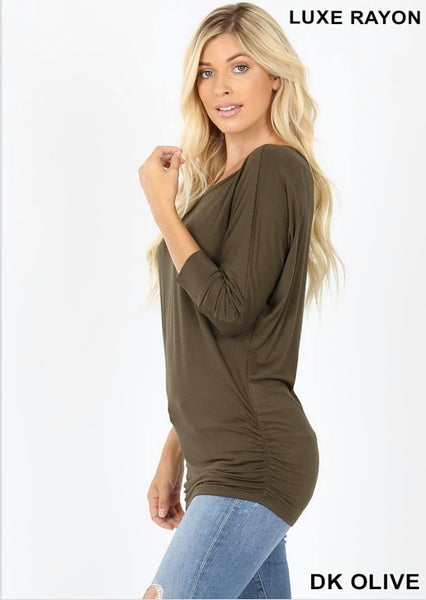 LUXE RAYON BOAT NECK DOLMAN 3/4 SLEEVE WITH SIDE RUCHED TOP - Olive Green *Final Sale*