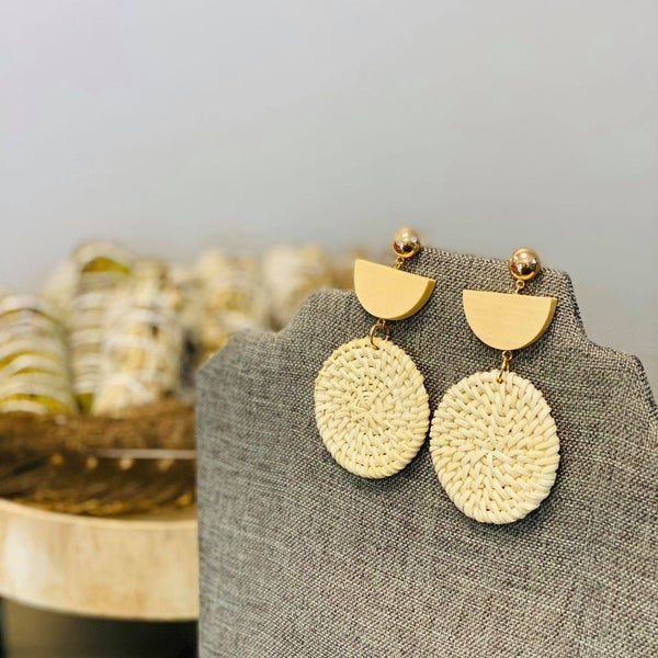 Moon Wooden Earrings