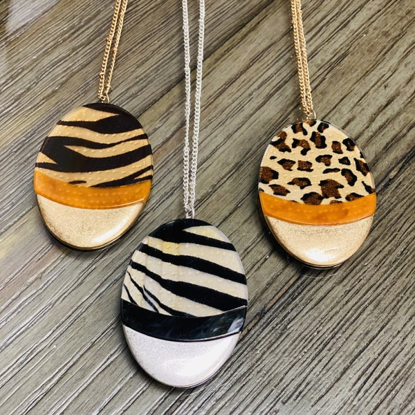 Oval Long Animal Print Boho Necklace Set