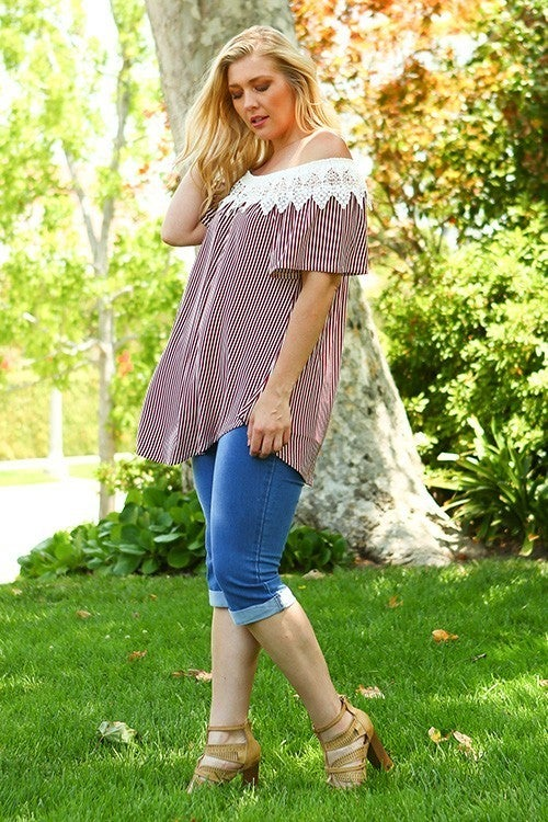 Off Shoulder Striped Tunic