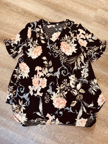 Black  Floral Print - Peonies