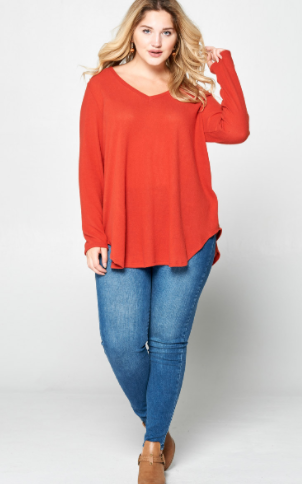 V-Neck Tunic Top with Side Curved Hem Detail