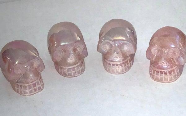Aura Rose Quartz Skulls - Mini *Final Sale*