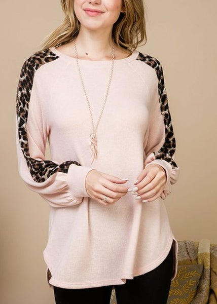 Blush Leopard Balloon Sleeve Top