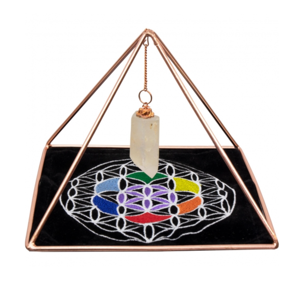 Copper Pyramid Energizer Set w/Crystal Point & Velvet Mat