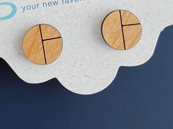 Wood Studs Earrings - Minimalist Stud