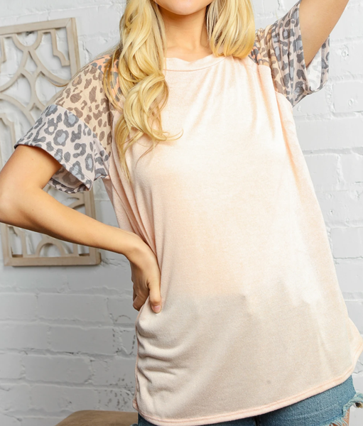 CORAL TAUPE & GREY ANIMAL PRINT SLEEVE RAGLAN TOP