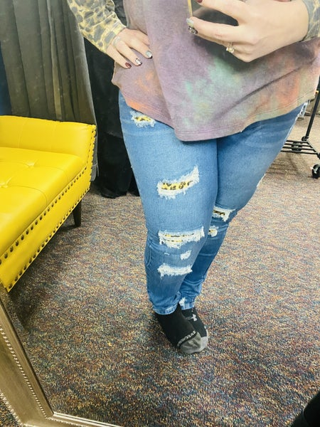 Leopard Patched Destressed  Jeans