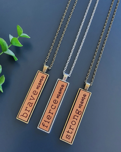 Engraved Leather Necklace - Brass