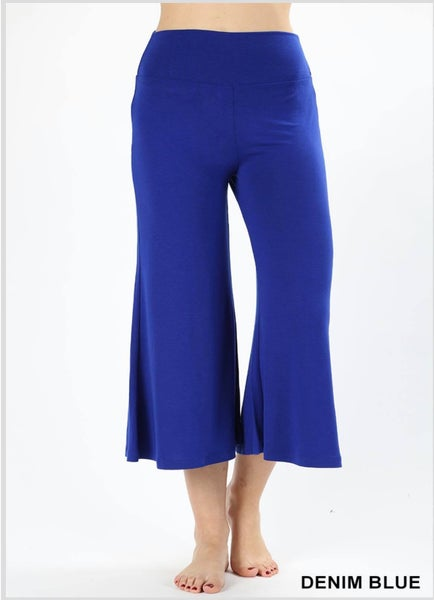 PREMIUM FABRIC GAUCHO CAPRI PANTS - DENIM BLUE *Final Sale*