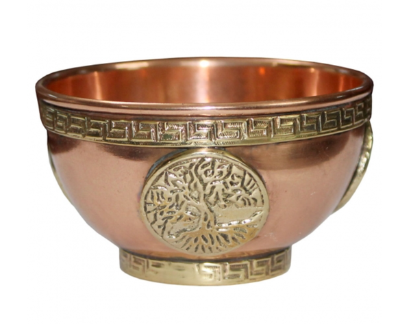 Copper Bowl Incense Charcoal Burner - Tree Of Life