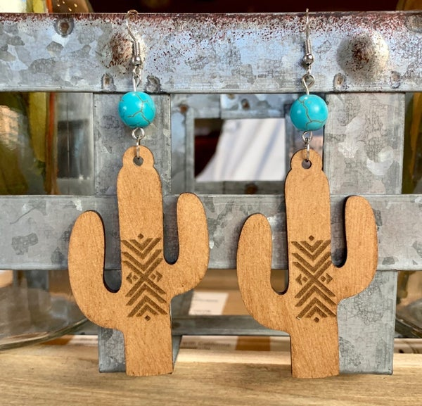 Wood Tribal Cactus Earrings