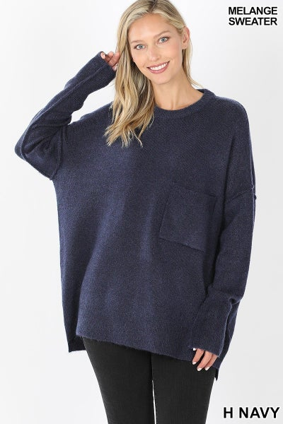 HI-LOW HEM POCKET SWEATER