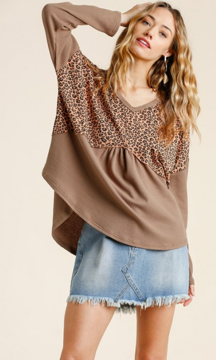 Animal Print V-Neck Babydoll Waffle Knit Top with Back Criss Cross Detail and High Low Hem