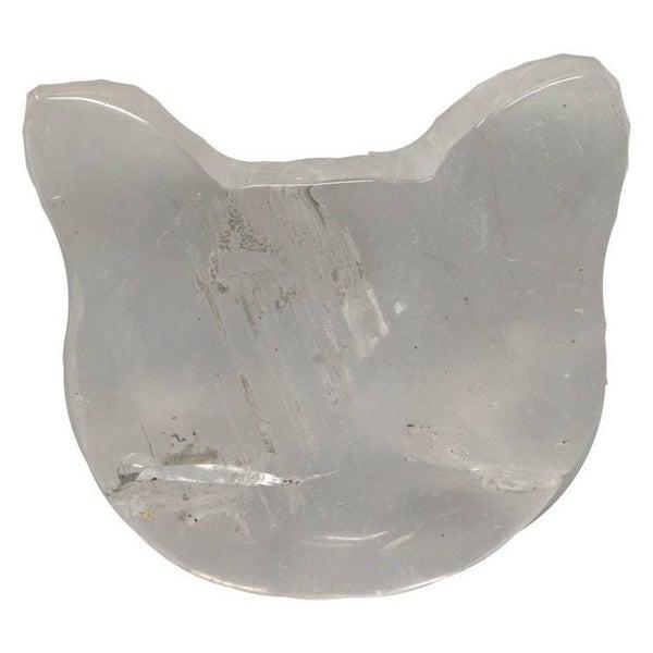 Clear Quartz Cat Face