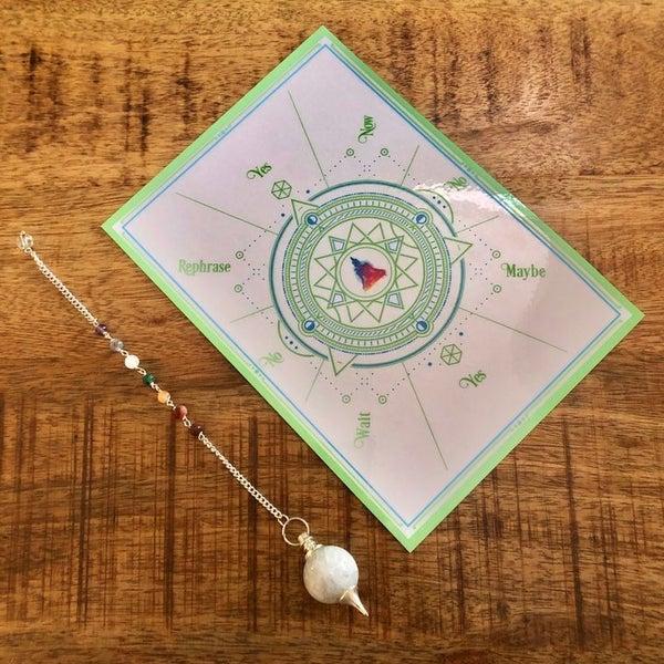 Chakra Moonstone Pendulum w/ Pendulum Card
