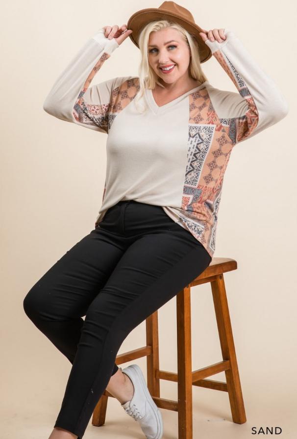 Color Block V-Neck Long Sleeve Pullover Top - Comfort Boho