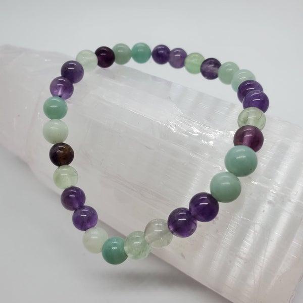 Rainbow Flourite / Amethyst / Amazonite 6mm Bracelets