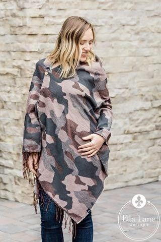 Camo button Scarf Poncho