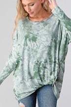 Olive knotted front tie dye top