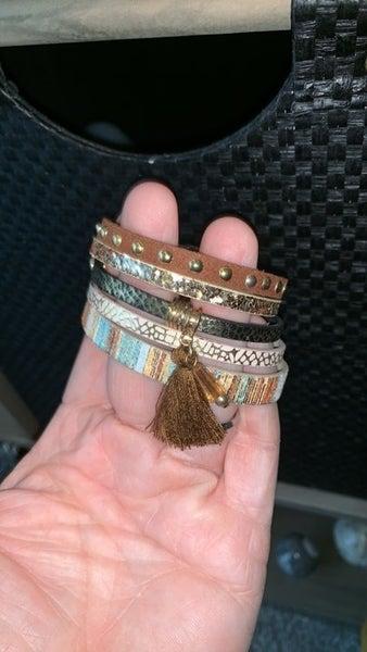 Bohemian Multi layer Leather Tassel Bracelet - Brown