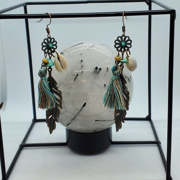 Teal Feather/Shell Earring