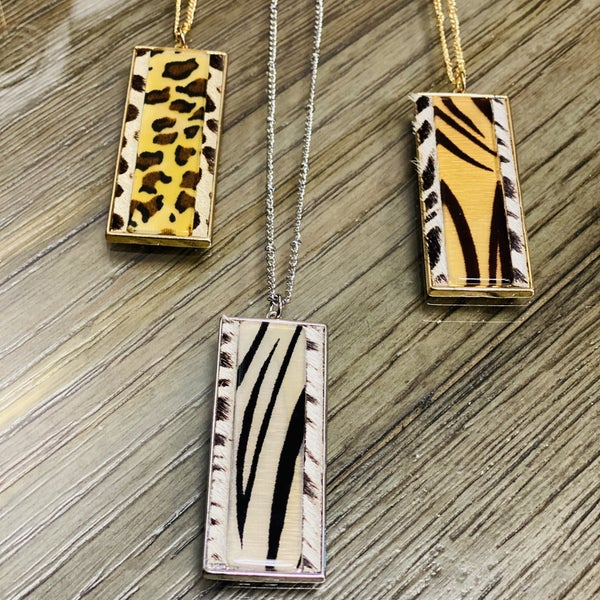 Rectangle Long Animal Print Boho Necklace Set