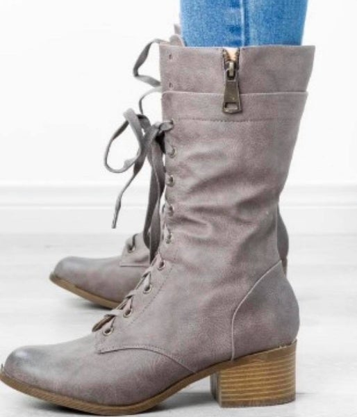 Women Combat Boot - Grey
