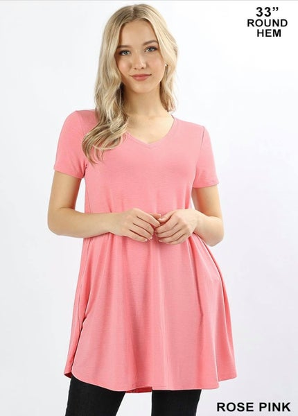 SHORT SLEEVE V-NECK ROUND HEM TUNIC-Rose Pink *Final Sale*