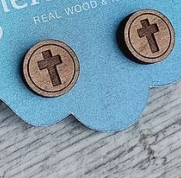 Wood Earrings Alder Studs - Engraved Cross