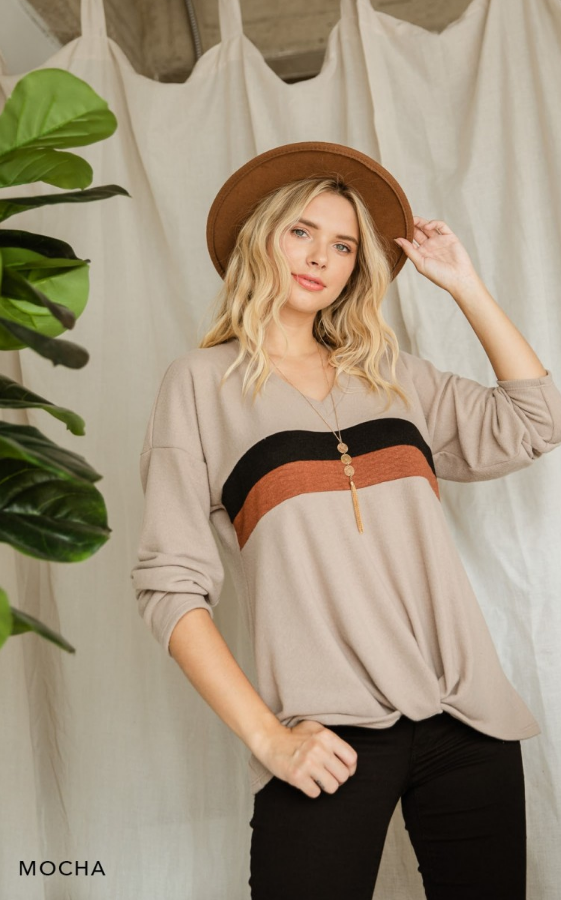 Hacci Brushed Color Block Long Sleeve Top - Boho