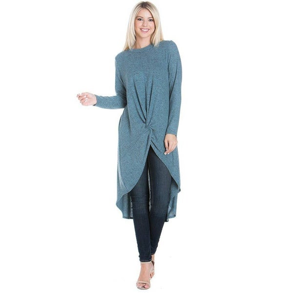 Long Sleeve Fit Flare Tunic Dress (Dusty Blue)