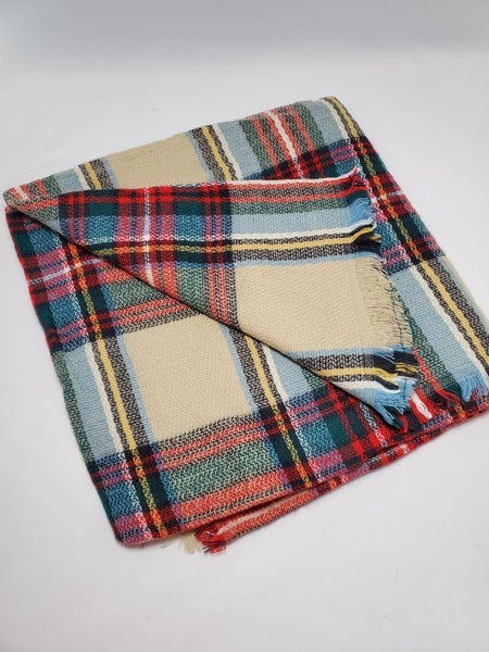 Best Selling Oversize Checker Blanket Scarf  - Beige