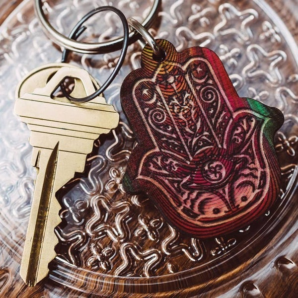 Hamsa Full Color Wooden Keychain