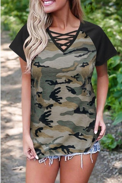 Criss Cross Camo V-Neck
